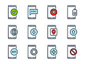 Smartphone basic functions related vector color line icons. Mobile phone services colorful outline icon set.