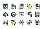 Head hunting and Interview related color line icons.