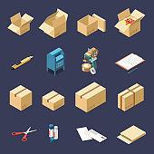 Cardboard Boxes Isometric Set