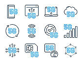 5th Generation Network related vector line icon set. 5G Technology outline icons.