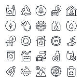 Ecology and Environment bold line icon set. Eco friendly and alternative energy sources linear icons. Recycle and nature outline vector sign collection.