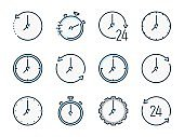 Time and Timer related vector color line icons. Clock and Watch colorful icon set.