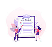 To do list people on white background. Cartoon character. Survey vector illustration. Flat vector character illustration. Corporate document.