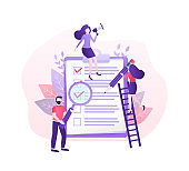 Checklist people, great design for any purposes. Flat vector character illustration. Check list icon, vector illustration.