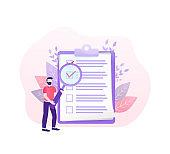 Checklist people. Flat checklist people for paper design. Vector illustration.