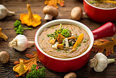 Fresh mushroom cream soup on wooden background
