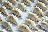 Chinese Dumplings in a row