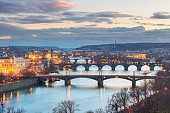 Overview of Vltava river and Charles bridge and bridges of Prague, Czech Republic