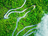 Aerial view of a winding mountain road