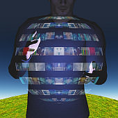 Man intereacts with video sphere