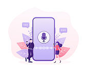 Concept vector illustration of young people with voice assistant, speaker recognition, voice controlled smart speaker.