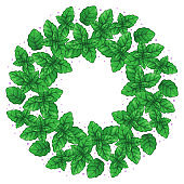 Decorative vector wreath of mint leaves on white background. Cartoon design for invitations, cards, prints, and textile