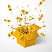 Open yellow gift box and gold confetti. Christmas Background. Vector illustration