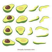 Isometric avocado pieces set isolated on white background.