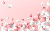Happy Valentines Day background, flying red, pink and white hearts. Vector illustration