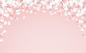 Happy Valentines Day background, pink and white hearts on pink background. Vector illustration
