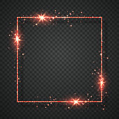 Red shiny glitter glowing vintage frame with shadows isolated on transparent background. Vector illustration