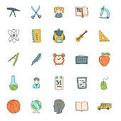 school hand drawn linear vector icons isolated on white background. school doodle icon set for web and ui design, mobile apps and print products