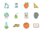 school doodles isolated on white. school icon set for web design, user interface, mobile apps and print