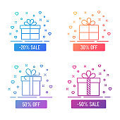 Discont gift boxes outline color flat illustrations. Gift box color gradient line illustrations isolated on white background. Discount gift box vector illustration for web, mobile app, ui design.