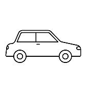 car outline vector icons isolated on white. auto car icon for web and ui design, mobile apps and print products