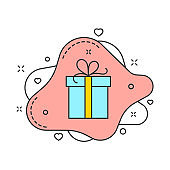 Gift box on pink fluid bubble shape color vector illustration isolated on white. Gift box with ribbon and decorations around. For web and promo business design
