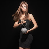 Blonde young woman in Little black dress