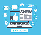 social media laptop color vector illustration on blue background. Laptop color flat illustration with icons and social media account web page. For business marketing design