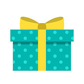 Gift box color flat illustration. Turquoise gift box with polka dot pattern, yellow ribbon and bow vector icon isolated on white background. Holiday gift icon for web, ui design, print, greeting cards