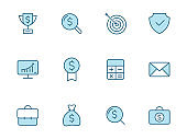 Business lineal icon set in two colors isolated on white background. Business blue outline icons for web design, mobile apps, ui design and print.