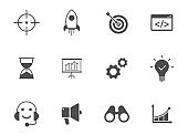 startup black vector icons isolated on white. startup glyph icon set for web, mobile apps, ui design and print