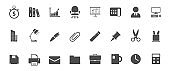 office silhouette vector icons isolated on white. office icon set for web, mobile apps, ui design and print