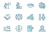 headhunting linear vector icons in two colors isolated on white background. headhunting blue icon set for web design, ui, mobile apps and print