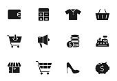 black friday glyph vector icons isolated on white. black friday icon set for web design, mobile app, user interface and print