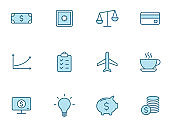 Business linear icon set in two colors isolated on white background. Business blue outline icons for web design, mobile apps, ui design and print.