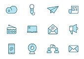 communication linear vector icons in two colors isolated on white background. communication blue icon set for web design, ui, mobile apps and print