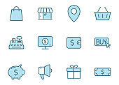 e commerce outline vector icons in two colors isolated on white. e commerce blue icon set for web and ui design, mobile apps and print products