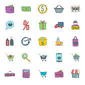 shopping hand drawn linear vector icons isolated on white background. shopping doodle icon set for web and ui design, mobile apps and print products