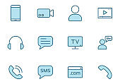 communication lineal vector icons in blue color isolated on white. communication icons in two colors for web and ui design, mobile apps, print and business promo advertising