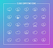 cloud computing outline vector icons on color gradient background. cloud computing icon set for web design and user interface design, mobile apps and print products