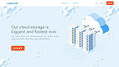 Isometric datacenter, conceptual cloud hosting illustration.