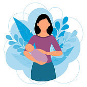 Concept of maternity. Woman holding newborn baby. Cute vector illustration in cartoon style.