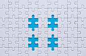 Jigsaw puzzle white color,Puzzles pieces grid,Success mosaic solution template,Horizontal on blue color background copy space for text,Top view
