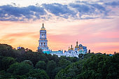 Kyiv Pechersk Lavra, historic Orthodox Christian monastery, at sunset in Kyiv, Ukraine