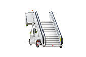Passenger ladder boarding mobile ramp isolated on white background.
