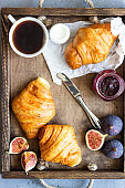 Old wooden tray with cup of coffee, jam in jar, fresh figs and croissants. Breakfast time.