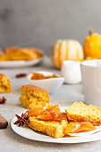 Traditional English cuisine. Breakfast with spicy pumpkin scones, a cup of tea and milk.