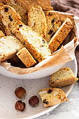 Traditional italian cookies biscotti (cantucci or cantuccini) with hazelnuts.