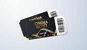 Black cinema tickets on white background.