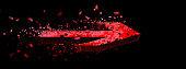 3D rendering red arrow flying in the dark